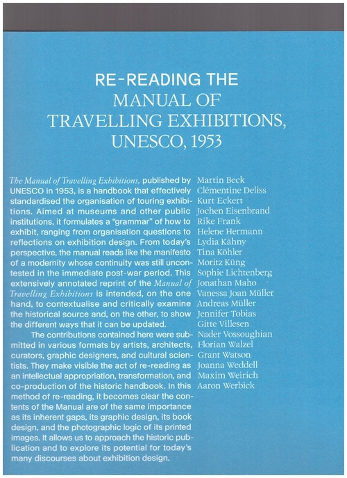 MÜLLER, Andreas; KÄHNY, Lydia; LICHTENBERG, Sophie; WERBICK, Aaron; WEIRICH, Maxim (eds.) - Re-reading the Manual of Travelling Exhibitions (Spector Books)